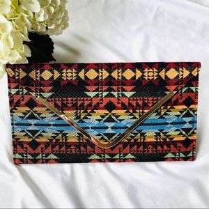 Handbags - Red Black Blue Envelope Clutch with chain Strap